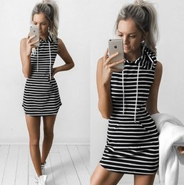 Wholesale Womens Tank Dresses - Womens Summer Casual Dress Grey Striped Tank Pencil Dressses Sleeveless Hooded Pockets Cute Sweetwear Clothing Dress