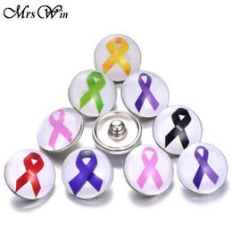 brustkrebs schmuck für frauen Rabatt Glas Druckknöpfe Krebs Brust Mischfarbe Band Snap Schmuck Fit Frauen Snap Armband Halskette Anhänger
