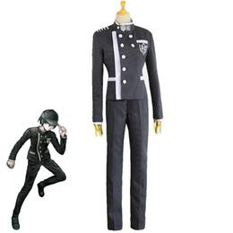 Fare il gioco scolastico online-Gioco giapponese Danganronpa V3 Saihara Shuuichi Costume Cosplay Anime Uniforme scolastica di Halloween Outfit Custom Made Coat + Pants + Hat