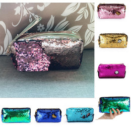 Wholesale Clutch Paillette - Hot Fashion Mermaid Sequins Pencil Bags for Students Women Cosmetic Bags Evening Makeup Pouch Zipper Clutch Gold Pink 7colors Clutch Bags