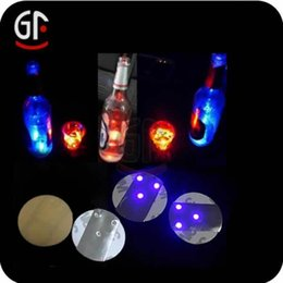 Wholesale Flash Brightness - Bar LED Light Bottle Sticker Coasters Round Waterproof Flash Paster High Brightness with three lamp cup stickers Luminous BBA14