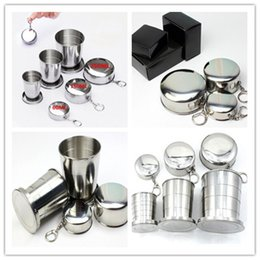 Wholesale Steel Camp Mug - Stainless steel Folding Cup Portable Collapsible Travel water bottles Camping drinkware Telescopic Foldable Cups Drinking Mugs 60 150 250ML