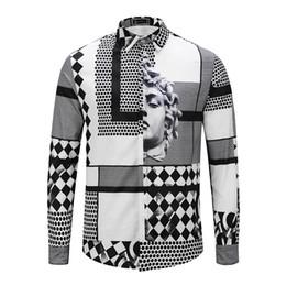 Wholesale Stitching Designs Shirts - Brand New design print dress shirt of man Retro slim shirt men Luxury Casual Harajuku Shirts Long sleeve Men's Medusa Shirts M-2XL