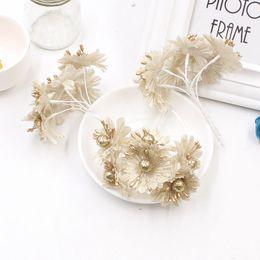 Wholesale Diy Scrapbook Decoration - 6pcs Golden Silver Glitter Artificial silk flower bouquet for Wedding Decoration Scrapbook DIY handcraft Fake flowers