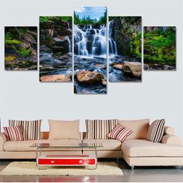 Cuadros del panel paisaje online-Eco Friendly Waterfall Painting Frameless Home Decor Imágenes del arte de la lona Extraíble Wall Hanging Print With Landscape Scenery 28jj ff