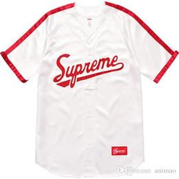 2019 la moda della maglietta di baseball Giubbotto da baseball Justin Bieber da baseball con scollo a V American Street Hip -Camicia con collo a strisce da donna sconti la moda della maglietta di baseball