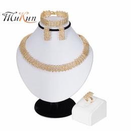 MUKUN 2019 yeni Nijeryalı Düğün Afrika Boncuk Takı Seti Kadınlar Marka Dubai Altın takı Toptan müşteri tasarım Gelin Hediye nereden
