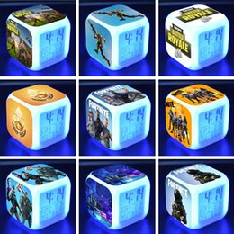 Wholesale popular gems - 30 popular Fortnite Gem alarm clocks LED digital night light electronic action toys children party gift toys T6I001