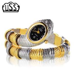 Nuevos relojes diseños para niñas online-Nuevo CUSSI estilo de serpiente en forma de reloj reloj de pulsera de moda reloj único diseño de las mujeres vestido de relojes Chica relogio feminino