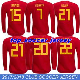 Wholesale Spain Long Sleeve - TOP QUALITY 2018 Spain Long sleeves red MORATA ASENSIO home soccer jersey 17 18 FABREGAS ISCO A.INIESTA SILVA RAMOS Espan football shirts