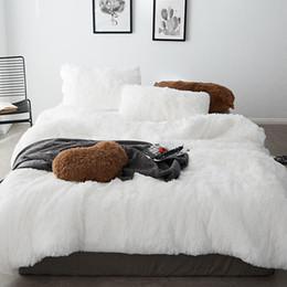 Hiver chaud thinken Ensembles de literie Coral polaire Cheveux longs Cachemire housse de couette ensemble literie linge de lit ? partir de fabricateur