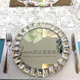 Wholesale Crystal Cake Stand Set - Mirror Bling Bling Crystal Beads Charger Plates in Silver (Set of 12) Wedding Centerpiece