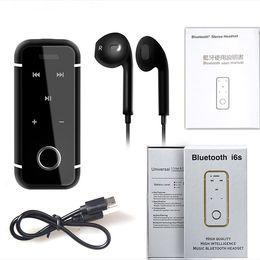 2019 écouteurs intra-auriculaires i6s Bluetooth 4.1 Casque Sport Musique Écouteur Stéréo Écouteurs In-Ear Clip Mini Collier Filaire Mains Libres avec Micro Écouteur pour Iphone x écouteurs intra-auriculaires pas cher