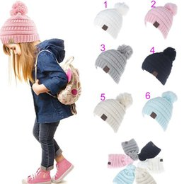 Wholesale Cable Knit Beanie Hat Wholesale - Kids cc trend Kids Winter Fashion Outdoor Hats Knitted Beanie CC hat Chunky Skull Caps Slouchy Crochet Cable Hats