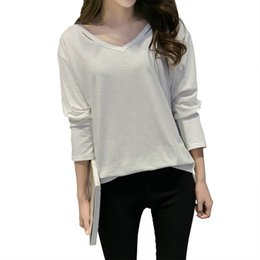 49fed2b496b 2018 Autumn New Style Fashion Big Size Polyester Women s Loose V-Neck Solid  Casual Regular t-shirt