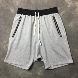 385e4a7f1af 2018 FOG FEAR OF GOD Justin Bieber Kanye West Top quality black grey green  Khaki Men shorts Hiphop drawstring sweat shorts Cheap price S-XXL
