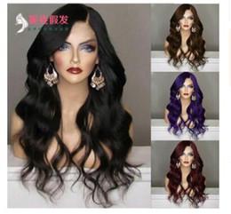 2018 nouveaux produits, perruques européennes et américaines, femmes cheveux longs colorés, perruque rose, ensembles de perruques, vente en gros. ? partir de fabricateur