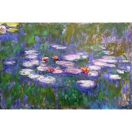 pintura da mão da arte famosa Desconto Pintados à mão arte da lona Claude Monet Pinturas Water Lilies famosa obra de arte para a decoração da parede