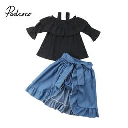 0efe5de191 Ropa de verano de la niña pequeña del bebé de los cabritos Set Off Shoulder  Tops + Short Pants + Hemlines Dress 3 piezas de ropa 1-6T vestidos outlet