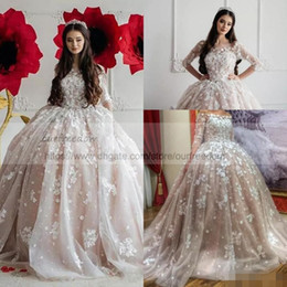 Wholesale Ball 3d Model - Vintage 2018 Champagne Blush Ball Gown Wedding Dresses Off Shoulders Sheer Half Long Sleeves Lace Appliques Tulle Bridal Gowns