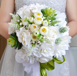 artificial white roses bridal bouquets Promo Codes - White Roses Western Style Wedding Bridal Bouquets 2018 Beautiful Handhold Bridesmaid Artificial Flowers Green Ribbons for Weddings