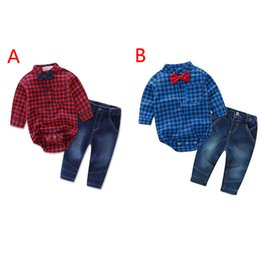 vérifier t-shirt à manches longues denim pantalon automne bébé enfant garçon vêtements costume vêtements pour enfants tenue pour enfants garçons 1 ? partir de fabricateur