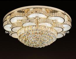 Argentina Dorado LED Cristal Europeo Lámpara de techo circular Salón Villa Ambiente Luces de dormitorio Comedor Iluminación LFA cheap golden ceiling lights Suministro