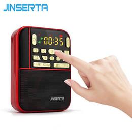 Wholesale Pocket Stereo Radio - JINSERTA Mini Fm Pocket Stereo Radio Portable Micro Sd Radios Fashion Band Speaker Tf Usb Mp3 Speakers Fm Receiver Loudspeaker