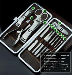 Trousse d'outils pour les ongles professionnels en Ligne-Dropshipping 12pcs / Set en acier inoxydable Manucure Set Kit de soins des ongles Nail Clipper Outils Toe Cutter Professional Cuticule Nipper