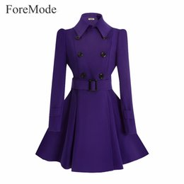 Wholesale Woman Double Breasted Dress Coat - ForeMode Winter Belt Buckle Mid-Long Trench Double-breasted Women Dress Long SleeveTrench Wool Coat
