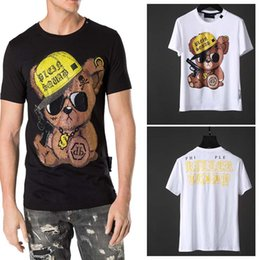 Wholesale Crystal Gothic - Bear t-shirts Mens Round Neck Crystals t shirts gothic style Letter 3D Animal printed Short Sleeve Tee Tops Germany Tide TEES white Black