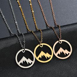 oro paesaggistica Sconti Collana ciondolo montagna nevoso oro argento Minimalis natura paesaggio neve montagna collane per le donne uomini moda regalo gioielli avventura