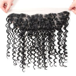 Wholesale deep wave synthetic weave - 10A Remy Human Hair Deep Wave Lace Frontal 13x4 Ear to Ear Lace Frontal Brazilian Peruvian Malaysian Indian Hair Weaves Closure 8-20inch