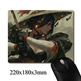 Wholesale Girls Mouse Pad - a girl holding the samurai bloody sword CG printed Heavy weaving anti-slip rubber pad office mouse pad Coaster Party favor gifts