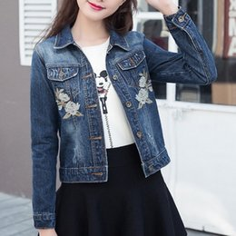 Wholesale Floral Shorts For Women - New Arrival Rose Embroideried Denim Jacket For Women 2018 Spring Autumn Long Sleeve Casaco Feminino Elegant Short Chaquetas Mujer