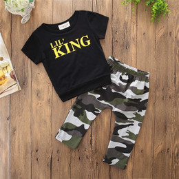 Wholesale baby girl camo - Summer boy baby kids new fashion style T shirt letter camo pant round neck T shirt+pant 2pcs set