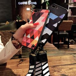 diamante de manzana Rebajas Caja del teléfono de la marca de moda para IPhone X 6 / 6S 6 plus / 6S Plus 7/8 7 plus / 8 plus Estilo del enrejado del diamante simple a prueba de golpes 2 colores a prueba de suciedad
