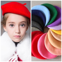 Wholesale french berets - Fashion Solid Wool Winter Women Girl Berets Hats Caps French Artist Beanie Hat Ski Cap For Female fashion Accessories