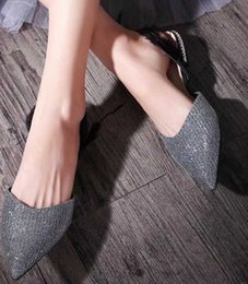 Wholesale gold flat wedge sandals - 2018 New arrival ladies leather Sexy square Toe spike Celebrity summer Women Sandals chain flat 6605180 rhinestone wedges