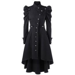 Argentina Mujeres góticas gabardina 2018 invierno otoño abrigo de las mujeres rompevientos mujer botón largo escudo goth outwear Suministro