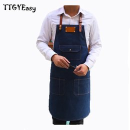 Wholesale Painting Bibs - New Aprons Bib Denim Pocket Cowboy Unisex Aprons For Woman Men Cafe Painting Chef Barber Kitchen Restaurant Cooking Pinafores