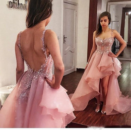 Wholesale Low Back Cocktail Dress - 2018 Dusty Pink High Low Prom Dresses Organza Exposed Boning Backless Evening Dress Sexy Custom made Spaghetti Straps Cocktail Party Dresses