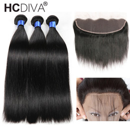 Wholesale Brazilian Hair Mixes Length - 8A Mink Brazilian Straight Hair 13x4 Lace Frontal Closure with Bundles Human Hair with Ear to Ear Lace Frontal Closure Free Part Pre Plucked