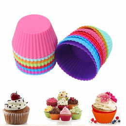 Wholesale Silicone Round Cake - 50pcs lot Round shape Silicone Muffin Cupcake Mould Case Bakeware Maker Mold Tray Muffin Baking Cup Liner Baking Molds 180320