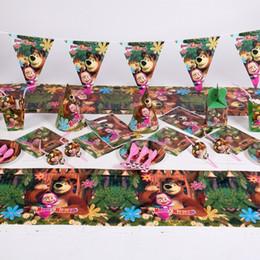 favores de la rosa azul Rebajas 87 unids / set Cumpleaños de dibujos animados Masha y oso Decorativos para eventos de fiestas Artículos para decoraciones para niños decorados
