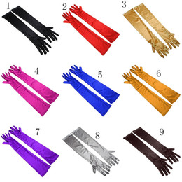 Wholesale Wholesale Evening Gloves - New Women big girls gloves cotton evening dress Lengthened gloves 17 colors Mittens Halloween costume accessories C2558
