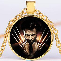 Wholesale x men necklace - round alloy bronze cute children Time Gem Cabochon Xmen Logan Wolverine Necklace X men X-Men Necklace Logan Wolverine Pendant Necklace x581