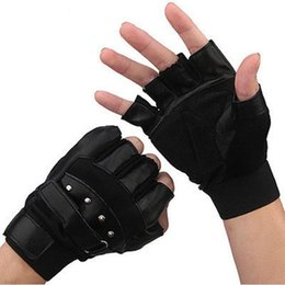 Мотоциклетные перчатки байкер онлайн-Men Outdoor Soft Sheep Leather Driving Motorcycle Biker Fingerless PU Gloves K5