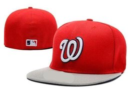 Wholesale Embroidered Baseball Caps Cheap - Good Sale Cheap Nationals Fitted Caps W Letter Baseball Cap Embroidered Team W Letter Size Flat Brim Hat Nationals Baseball Cap Size