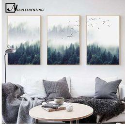 dipinti ad olio diversi Sconti Nordic Decoration Forest Lanscape Wall Art Canvas Poster e stampa su tela dipinto Immagine decorativa per soggiorno Home Decor